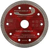 PRODIAMANT - Disco da taglio diamantato per piastrelle in gres porcellanato, 125 x 22,23 mm, 125 mm, per smerigliatrice angolare