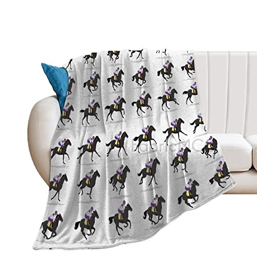 Manta de forro polar, 152.4 x 203.2 cm, diseño de caballos que corren la impresión repetitiva de Little Polo Jockey Motifs Riding Animals, Manta de cama suave suave de microfibra