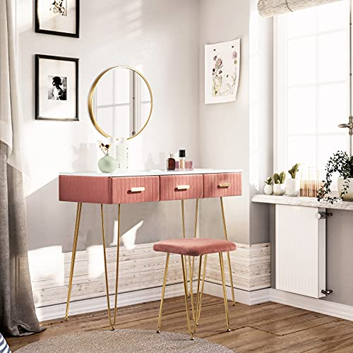 WOLTU Dressing Table Pink Velvet with Stool Wall Mount Mirror Set with 3 Drawers Under the Makeup Bedroom Desk Dresser Set MB6080rs