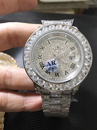 N-A Klassische Mode Männer Tag Datum Silber Iced Big Diamonds Rom Zifferblatt Automatische mechanische 904l Edelstahl Saphir Uhr 44mm