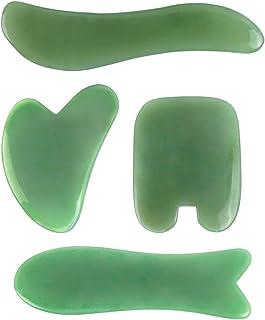 Deciniee Jade Gua Sha Tools Set, Real Natural Nephrite Jade Gua-sha Board, Anti-aging Beauty Therapy for Skin Rejuvenation, Guasha Scraper Tools for Face, Eye, Neck(4 Pcs)