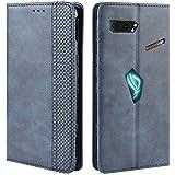 HualuBro Handyhülle für Asus ROG Phone 2 ZS660KL Hülle, Retro Leder Stoßfest Klapphülle Schutzhülle Handytasche LederHülle Flip Hülle Cover für Asus ROG Phone 2 II ZS660KL Tasche, Blau