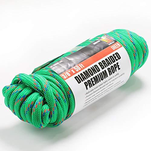 Wellmax Premium Quality Diamond Braid Nylon Rope, 3/8 inch by 50 Feet Green Color, Heavy Duty