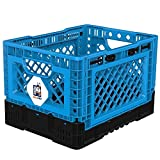BIGANT Heavy Duty Collapsible & Stackable Plastic Milk Crate - IP403026, 26 Quarts, Small Size,...