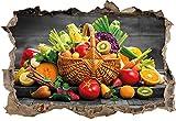 Frutta fresca e verdura nel cestello B & W dettaglisvolta a muro in look 3D, parete o formato adesivo porta: 92x62cm, autoadesivi della parete, autoadesivo della parete, decorazione della parete