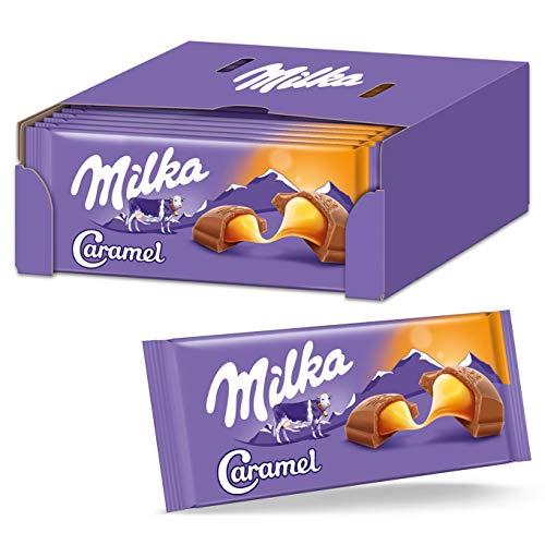 Milka Caramel Schokolade 17 x 100g, Zarte Alpenmilch Schokolade mit Karamellcrème