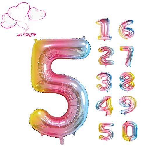 JIASHA Zahlen-Ballons, Schillernde Regenbogen Luftballons, Zahlenluftballons, Folien-Luftballons Nummer Jahre,Geburtstag, Hochzeit, Party, Dekoration (5)