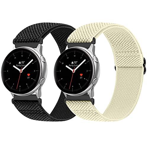 Vodtian Cinturino elastico regolabile da 20 mm, compatibile con Samsung Galaxy Watch 42 mm/Watch 3 41 mm/Active2 44 mm 40 mm/Gear Sport, cambio rapido in nylon intrecciato Solo Loop