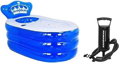 Plegable Inflable bañera for Adultos Barril del baño de Ducha portátil Cubo Relax bañar Piscina Puede Sentarse y acostarse con la Bomba de Aire (Color : Blue, Size : 160 * 90 * 75cm)