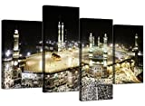 Large Islamic Canvas Wall Art Pictures of Hajj Pilgrimage to Kabah in Mecca - XL - Modern Muslim Split Canvases - Multi Panel - Set of 4 Prints - 130cm Wide