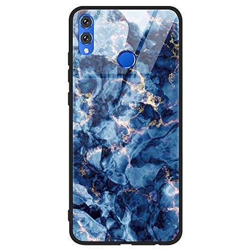 Yoedge Honor 8X Hülle, Stoßfest Hybrid Schutzhülle [TPU Silikon Bumper + Glas Rückseite] mit Muster Motiv Handyhülle Kratzfeste Hardcase Rückschale Cover für Honor 8X, Rock