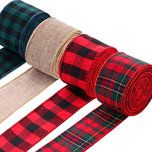 4 Rolls of Christmas Burlap Craft Ribbons, Buffalo Plaid Wired Ribbon for Christmas Wrapping Decoration, Colorful Wedding Floral Bow Crafts Ribbon (26 Yards by 1.97 Inches, 4 Colors)