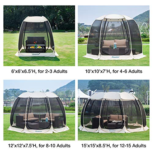 Alvantor Screen House Room Camping Tent Outdoor Canopy Dining Gazebo Pop Up Sun Shade Shelter 10 Mesh Walls Not Waterproof Beige 15'x15' Patent
