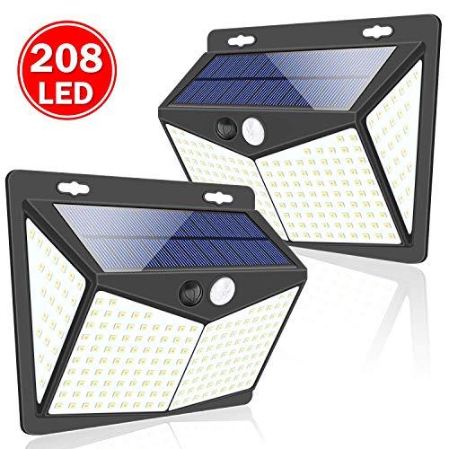 Luces Solares, 2 Paquetes Luz Solar Exterior 208 LED / 3 Modos 270 ° Lámpara Solar Exterior IP65 Impermeable Iluminación Exterior con Sensor de Movimiento para Jardín, Patio,...