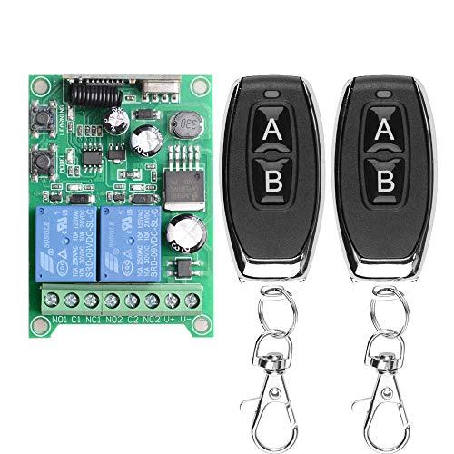 Drahtloser Fernschalter DC 12V 24V 36V 48V Neuer 2-Kanal-Multifunktions-Fernbedienungsschalter, 433-MHz-Sender mit Empfänger Verwendung für elektrische Türen, Autos, Lichter und mehr(Momentanmodus)