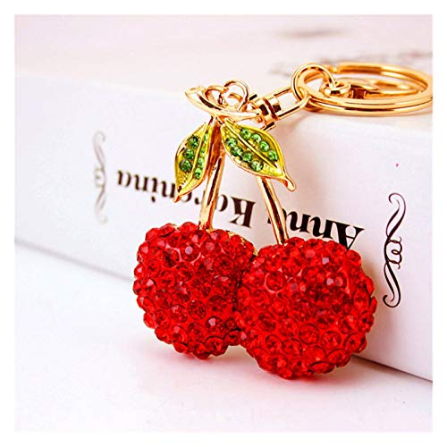 Zxebhsm Keychain New Creative Cherry Keychains Fashion Key Chain Fruit Key Rings Holder Car Keyrings Wholesale (Color : Pink)