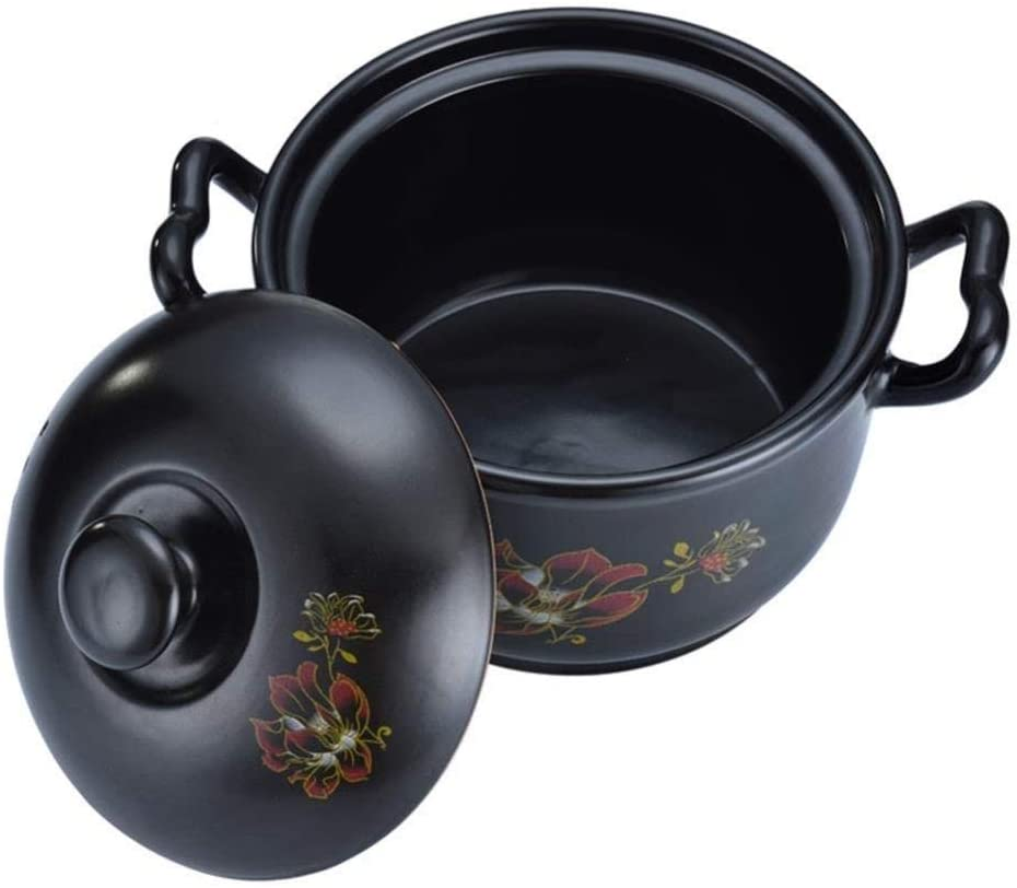 YUHT Clay Casserole Pot Terracotta Stew Pot Ceramic Casserole - Easy Clean Non-Stick Pan Durable Multi-Purpose Pot Capacity 3.2L and Soup Pot And