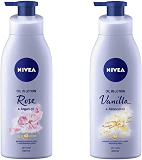 NIVEA Oil in Lotion, Rose and Argan Oil, 400ml and NIVEA Oil in Lotion, Vanilla and Almond Oil, 400ml