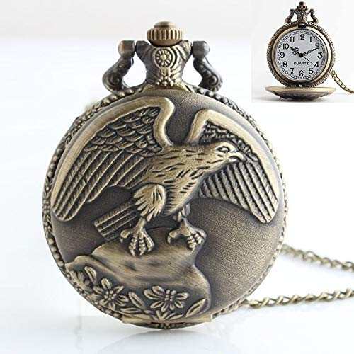 Uhren Klassische Hawk Art-Quarz-Uhrwerk Taschenuhr mit hängenden Hals Kette Asun