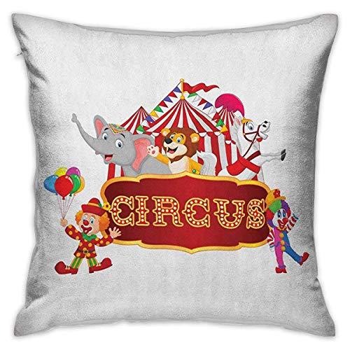 Circus Square Funda de almohada personalizada Cute Happy Fun Animales de circo entrenados con carpa nostálgica Carnaval Fiesta Show Art Fundas de cojín Blanco rojo Fundas de almohada para sofá Dormito