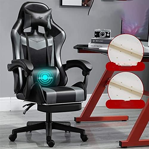 SuRose Sillas de juego, silla de ordenador, silla de oficina, para juegos, silla reclinable, silla atlética, silla de carreras con ancla, asiento rosa (color: gris oscuro 2)