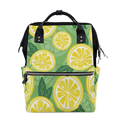 Grapefruit gelbe Frucht Zitronenscheiben große Kapazität Windel Taschen Mummy Rucksack Multi Funktionen Wickeltasche Tasche Tote Handtasche für Kinder Baby Care Travel Daily Frauen