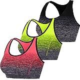 Libella Mujer Sujetador Deportivo Push Up Bustier con Amplio Correas Fitness Yoga Camisetas Sin Mangas 3738 Paquete de 3 Negro+Naranja+Amarillo S/M