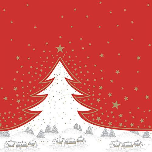 HANTERMANN Servietten Weihnachten rot Premium AIRLAID STOFFÄHNLICH | 25 Stück | 40 x 40cm | 1/4 Falz | hochwertige, edle Weihnachtsservietten | Weihnachtsdeko | Made in Germany