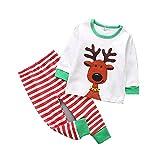 Pijamas para Niña Niño Bebé 2 Piezas de Mangas Largas Suave Algodón Reno de Navidad Muñeco de Nieve Ropa Navideña Infantil - Verde 120