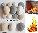 10 Mixed Gas Fire Pebbles. White, Grey and Beige. High Quality, Made in UK. Suitable for Gas/LPG/Living Flame...