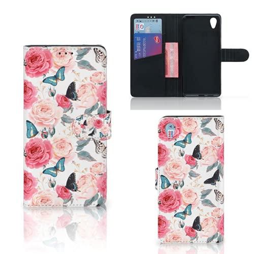 B2Ctelecom Handyhüllen für Sony Xperia XA1 Plus Schutzfolie Schmetterling Rosen - Geschenke Für Frauen