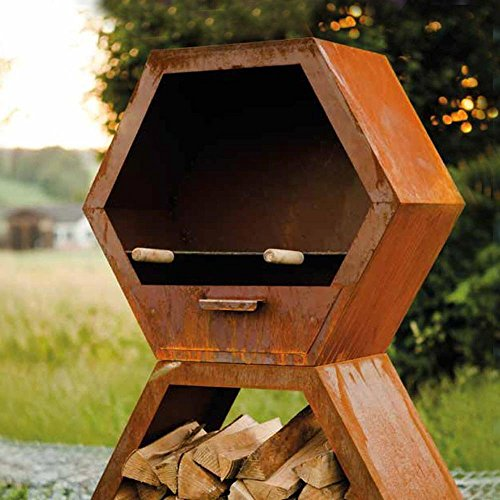 Home Deluxe - Kaminofen - Hexagon - Grill aus Edelrost