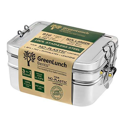 3-in-1 Stainless Steel Bento Box For Kids Adults with Snack Pod - Holds 6 Cups of Food 100 Crack-Resistant Secure Locks Eco-friendly Metal Lunch Container