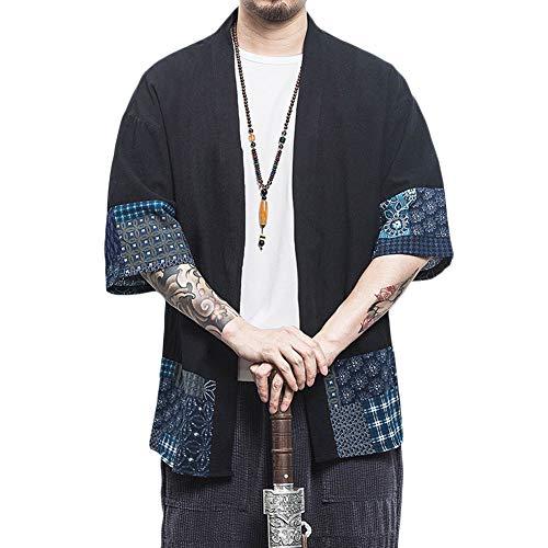 Chaqueta Japonesa del Estilo del Kimono del Tamaño Manga 3/4 Yukata del Vintage para Hombres