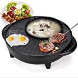 OMANZA Multi Functional Electric BBQ Hotpot Non Stick Double Layer Barbecue Grill Griddle Plate Pan Tandoori 2 in 1 Bast for Non Veg-Veg Cooking Grill Pan