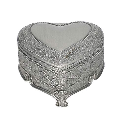SCDHZP Caja de joyería for Las Mujeres, Plata de la Forma del Pecho Caja del corazón Antigua del estaño Grabar Joyas de la Caja de clásicos Retro Organizador