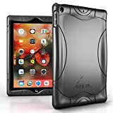 Armera iPad 9.7 2018 2017 Case - [Wave Bumper Series] Rugged Light Weight Anti Slip Kids Friendly Shock Proof Silicone Protective Cover for iPad 6th / 5th Gen, Black
