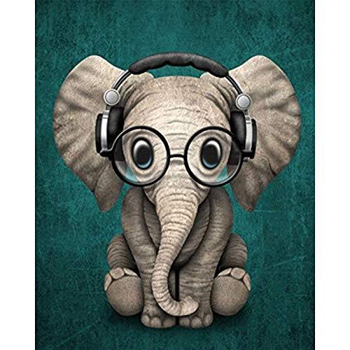 upnanren DIY Digitale Malerei Kit-Ölgemälde Geschenk für Erwachsene und Kinder-Heimdekoration-Elefant tragen Kopfhörer 16x20 Zoll-mit Rahmen