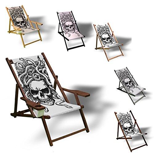 Printalio - Skull - Liegestuhl Bedruckt Balkon Garten Sonnenliege Relax Holz Terrasse | mit Armlehne, Dunkelbraun