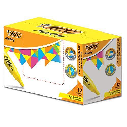 Marcador de Texto Fluorescente BIC Marking, Ponta Chanfrada, 1.5-5.5mm, Amarelo, 904396, 12 Unidades