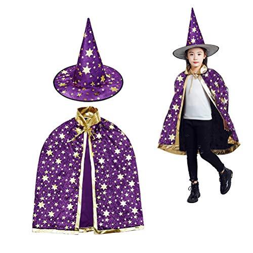 MUCHEN SHOP Zauberer Kostüm Kinder,Halloween Kostüme Zauberer Mantel mit Hut Hexen Mantel Stern Cape Zauberhut für Kleinkinder Jungen Mädchen Cosplay Lila