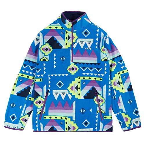 NEFF Men's Pullover Sweater Fleece Jacket Quarter-Zip, Blue/Purple, L