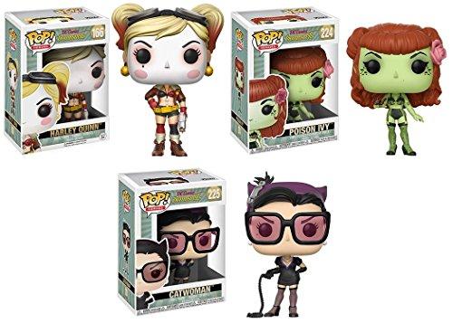Funko POP! DC Bombshells: Harley Quinn + Hiedra Venenosa + Catwoman