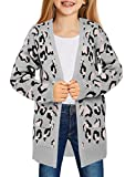 LookbookStore Girls Open Front Knit Sweater Cardigan Pocket Outerwear 4-13 Years Leopard Printed Grey XX-Large 12-13 Years