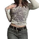 Camiseta de manga larga con estampado Y2K para mujer sexy con cuello redondo y cuello redondo, gris, L