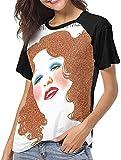 Photo de EYSKJ Tee T-Shirt Femme,Bette Midler The Divine Miss M Deluxe Womens Short Sleeve Raglan Baseball Tshirt Black