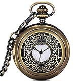 OMYLFQ Relojes de Bolsillo Hueco de la Vendimia de Bronce números Romanos Escala de Cuarzo Reloj de Bolsillo con Cadena Relojes Fob