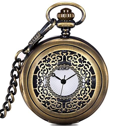 Reloj de Escritorio Hueco de la Vendimia de Bronce números Romanos Escala de Cuarzo Reloj de Bolsillo con Cadena Reloj de Mesa