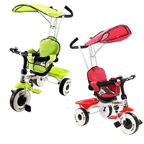 COSTWAY 4 in 1 Dreirad Kinderdreirad Kinderfahrrad Kinderwagen Schiebewagen mit Stange,Sonnendach Farbwahl (Grün)