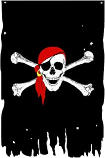 FLAGLINK Red Scarf Skull Bones Flag 3X4.8Fts Jolly Roger Crossbone Pirate Banner Creepy Ragged Vertical
